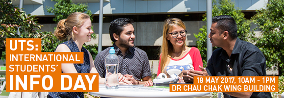 International Students' Info Day, Thursday 18 May 2017, 10am - 1pm. International Students. UTS Campus. Study at UTS.