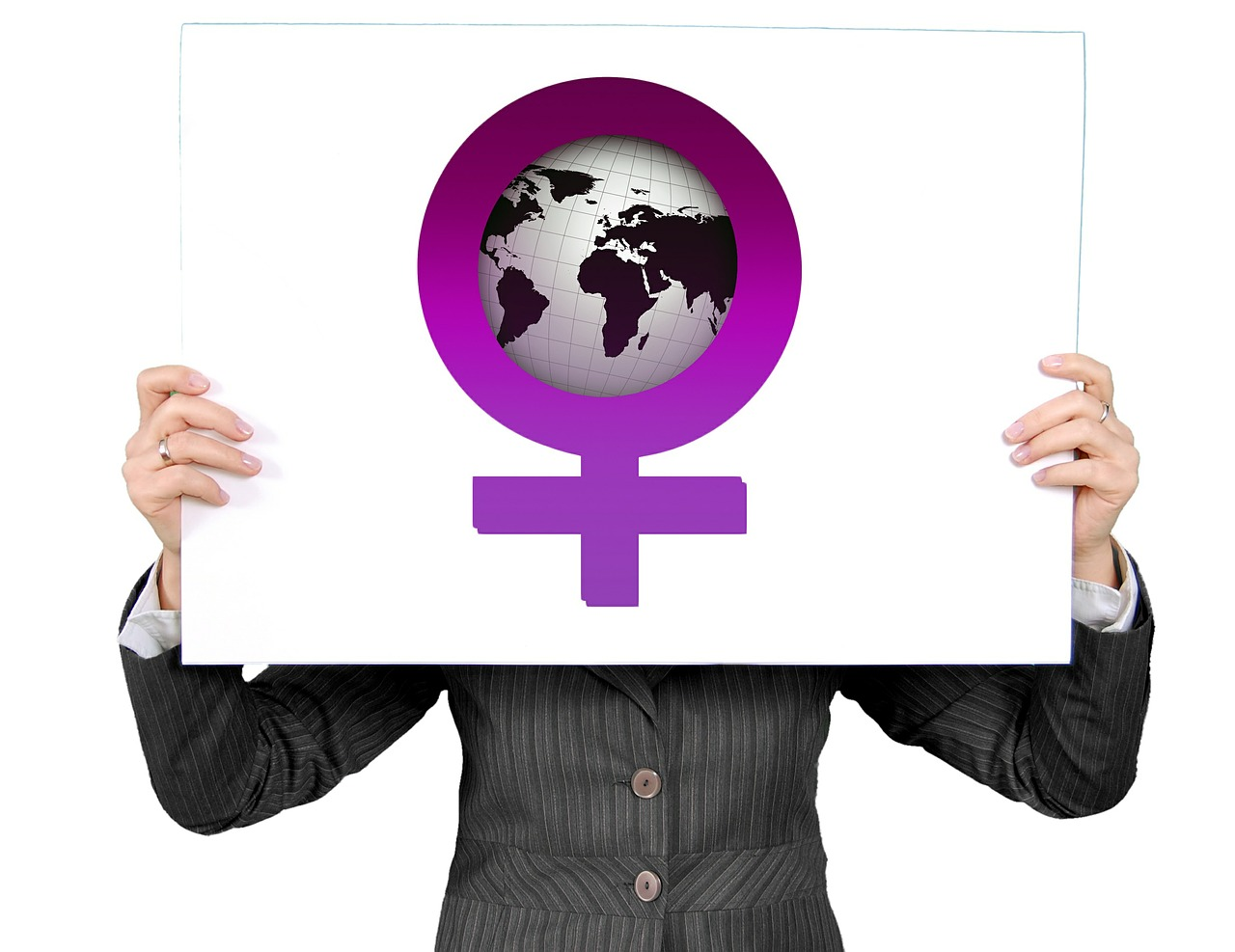 Woman holding a female gender sign